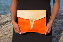 Leather Clutch Purse - Orange/Natural