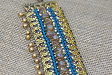 Hand Embroidered Bracelet - Blue and Gold