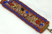 Hand Embroidered Bracelet - Blue/Copper