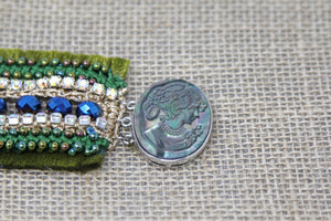 Hand Embroidered Bracelet - Peacock Fantasy