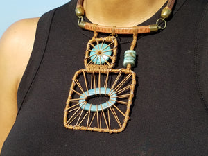 Squared Necklace - Blue and Brown
