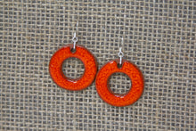 Ceramic Hoop Earrings - Orange