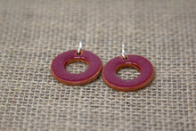 Ceramic Hoop Earrings - Maroon