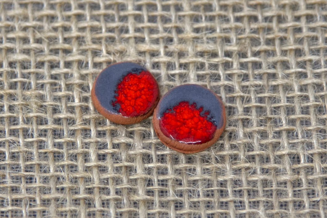 Ceramic Stud Earrings - Gray/Orange/Red