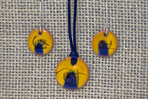 Ceramic Necklace & Earring Set - Mustard Yellow/Navy Blue/Black