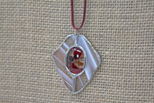 Tiffany Style Stained Glass Necklace - Rust/Cream