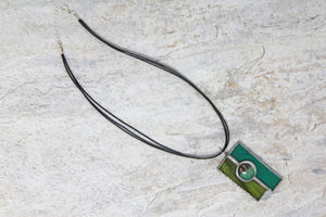Tiffany Style Stained Glass Necklace - Green/Jade