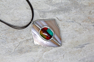 Tiffany Style Stained Glass Necklace - Multicolor