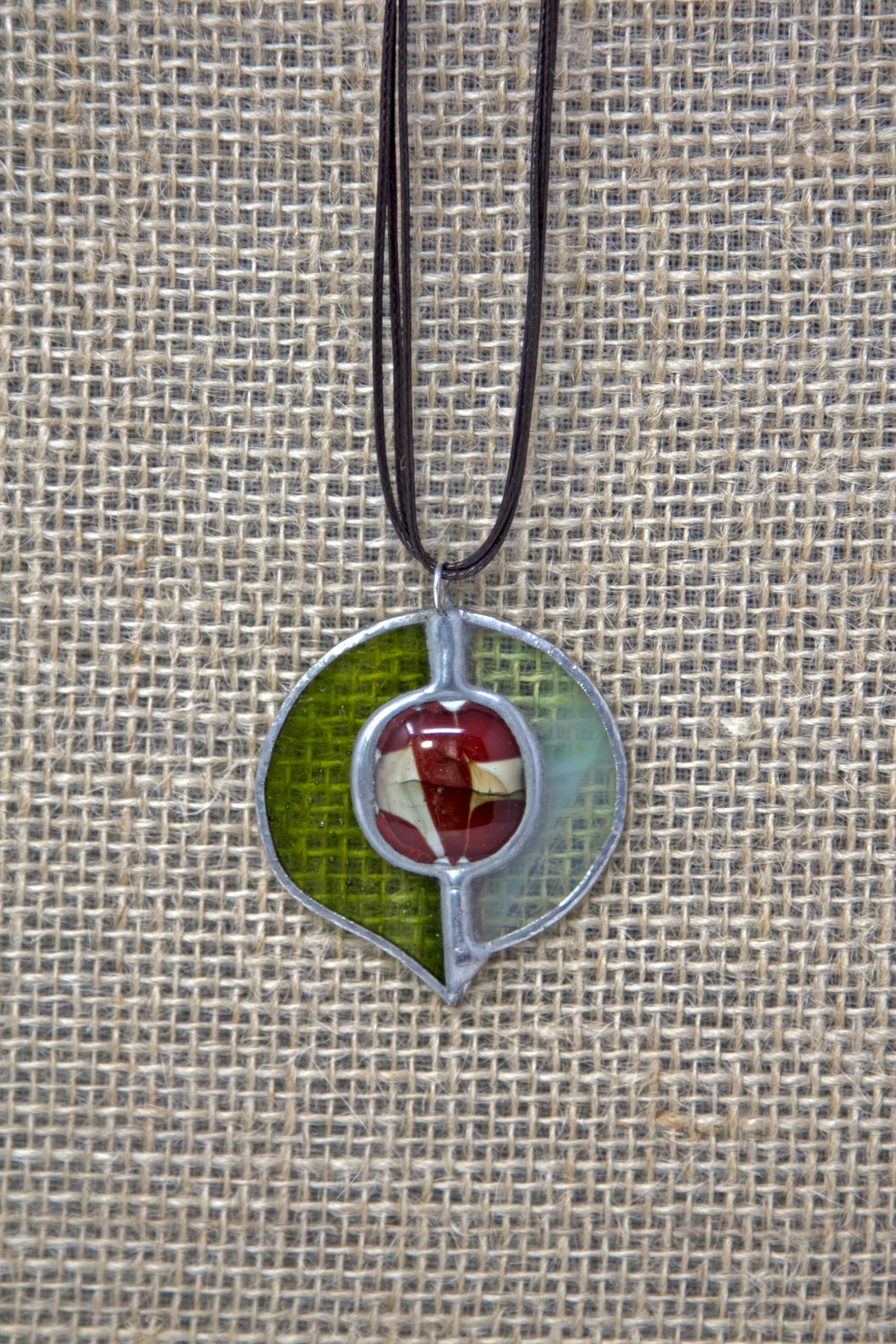 Tiffany Style Stained Glass Necklace - Green/Red