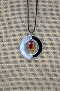 Tiffany Style Stained Glass Necklace - Black/White/Red