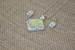 Fused Glass Earrings & Pendant Set - Iridescent