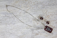 Fused Glass Earrings & Pendant Set - Red/Silver