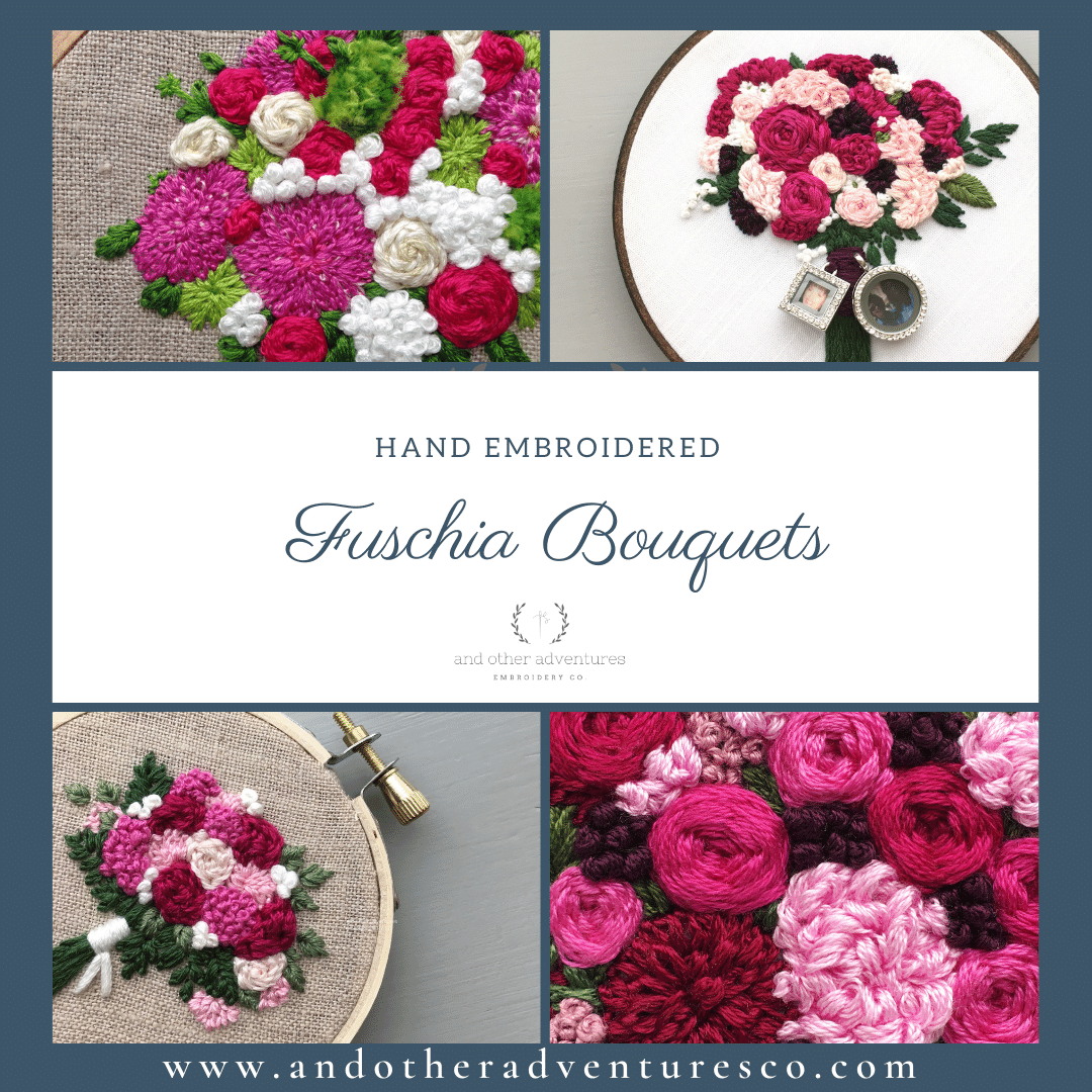 Hand Embroidered Fuschia Bouquets | And Other Adventures Embroidery Co