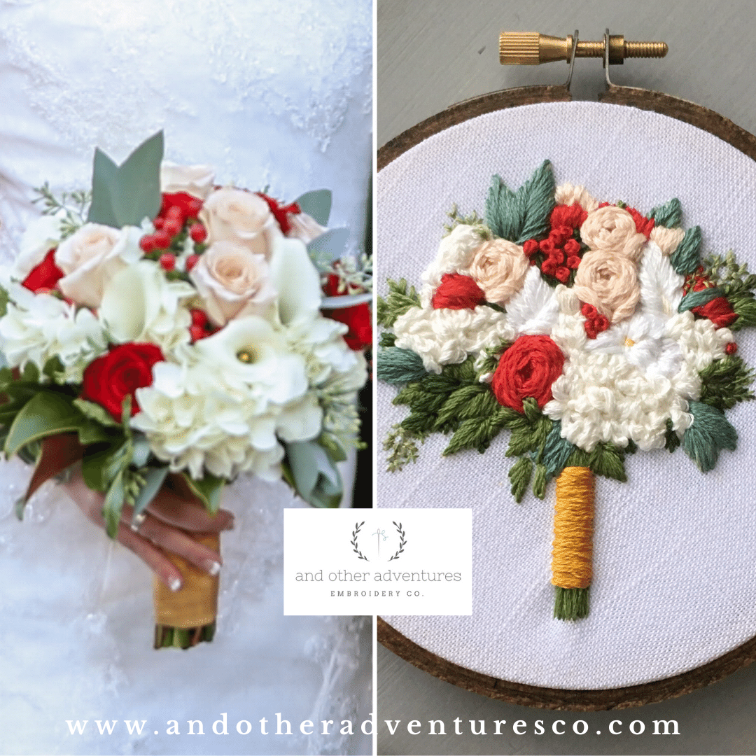Romantic Red and White Wedding Bouquet Embroidery | And Other Adventures Embroidery Co