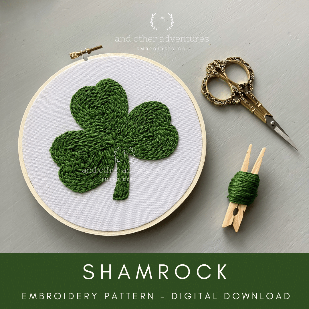Shamrock Digital Embroidery Patter to celebrate St. Patrick's Day | And Other Adventures Embroidery Co