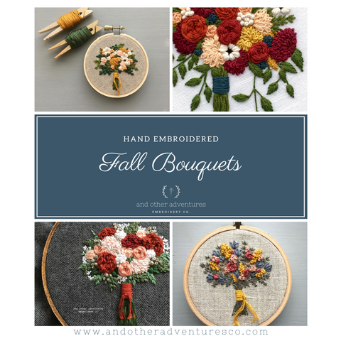 Hand Embroidered Fall Bouquets