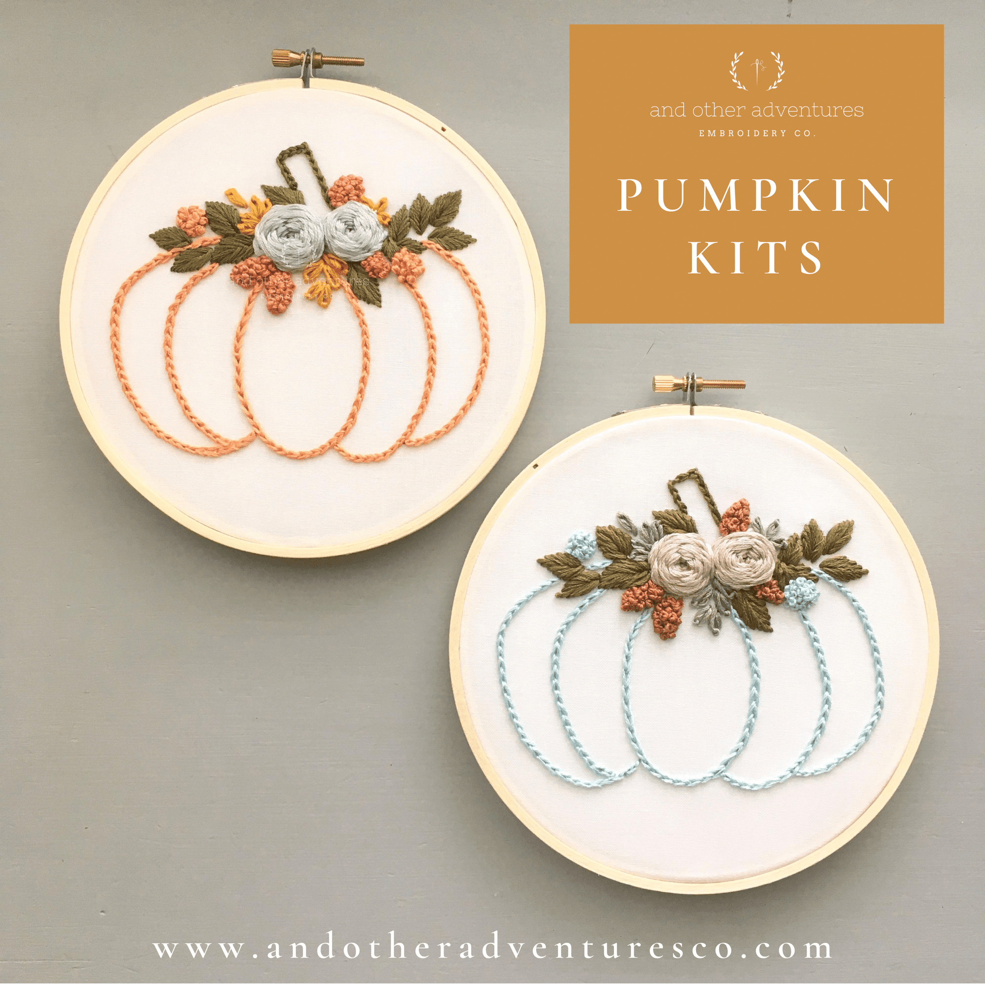 Hand Embroidered Fall Floral Pumpkin DIY Kits | And Other Adventures Embroidery co