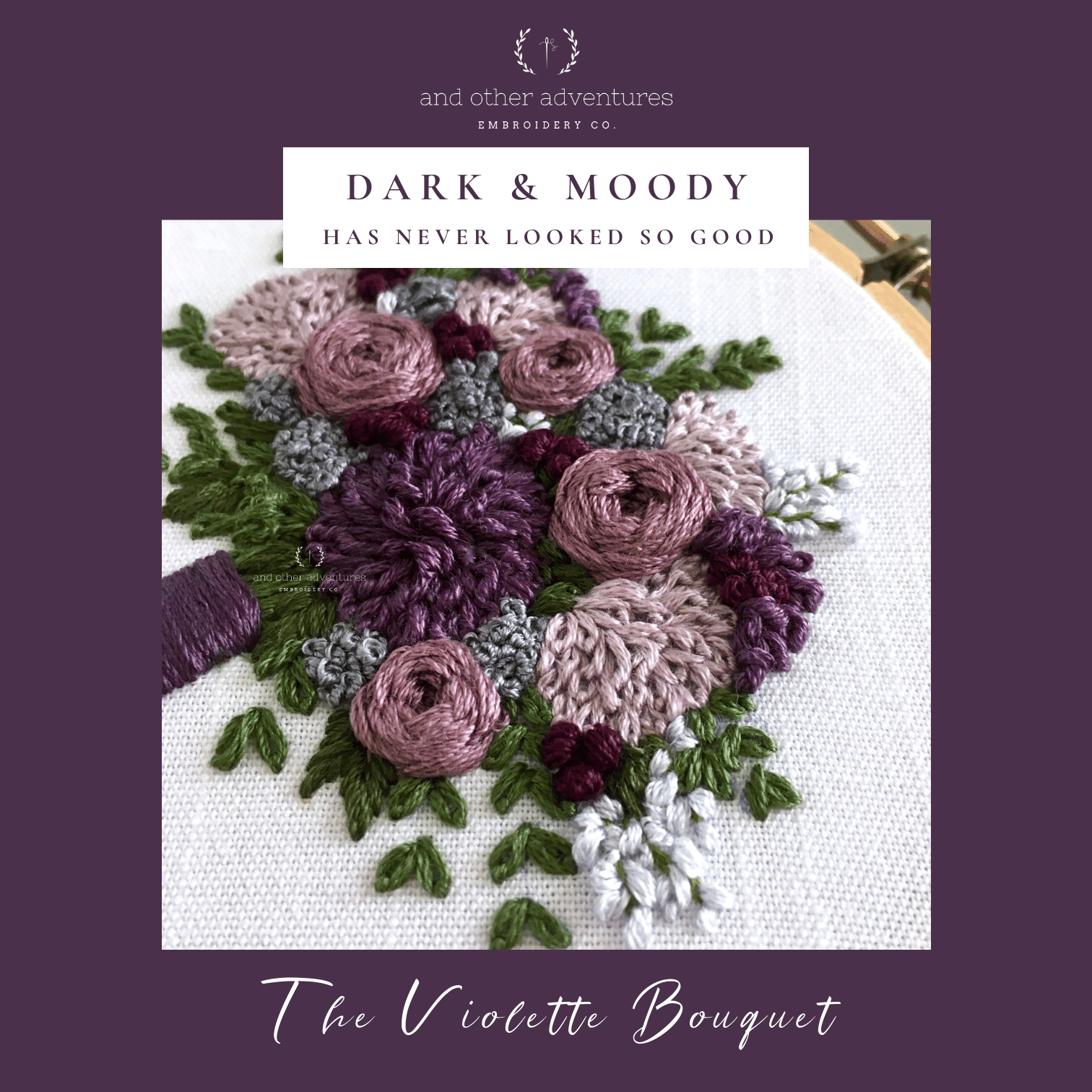 Dark and Moody has never looked so good - Purple Bouquet Embroidery Pattern by And Other Adventures Embroidery Co