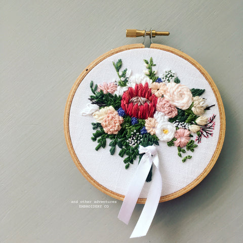 Protea Wedding Bouquet Embroidery