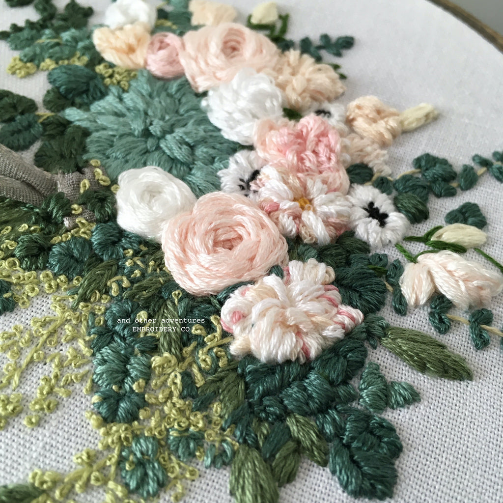 Hand Embroidered Details Succulent Anemone Wedding Bouquet by And Other Adventures Embroidery Co