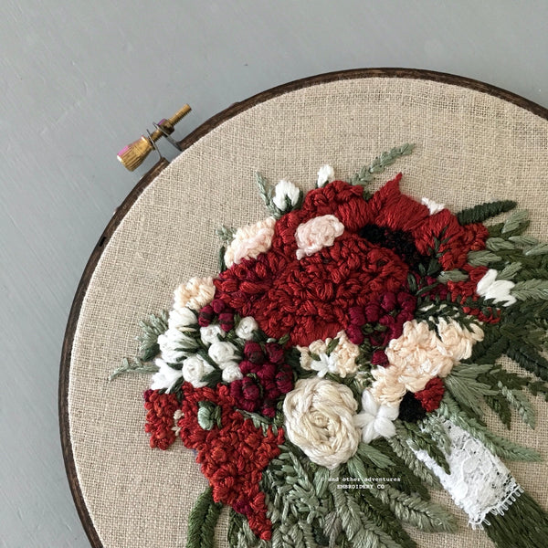Burgundy and Maroon Wedding Bouquet Embroidery by And Other Adventures Embroidery Co