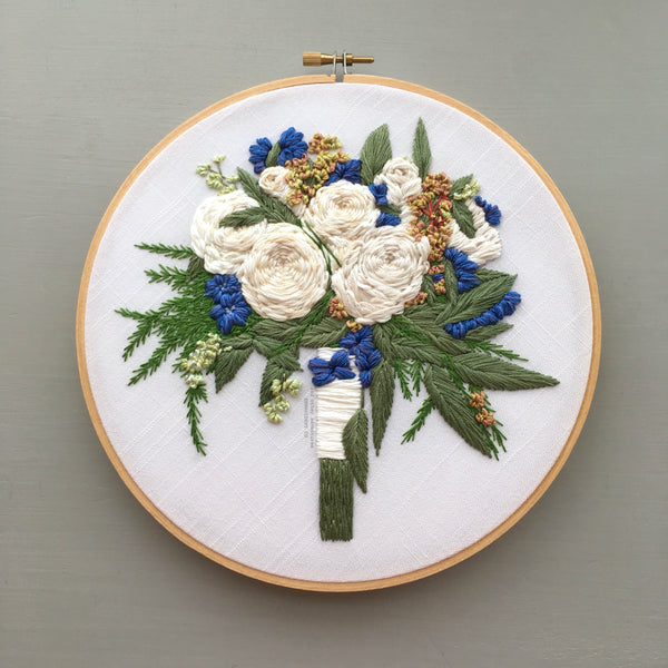 White Wedding Bouquet Embroidered Hoop Art by And Other Adventures Embroidery Co