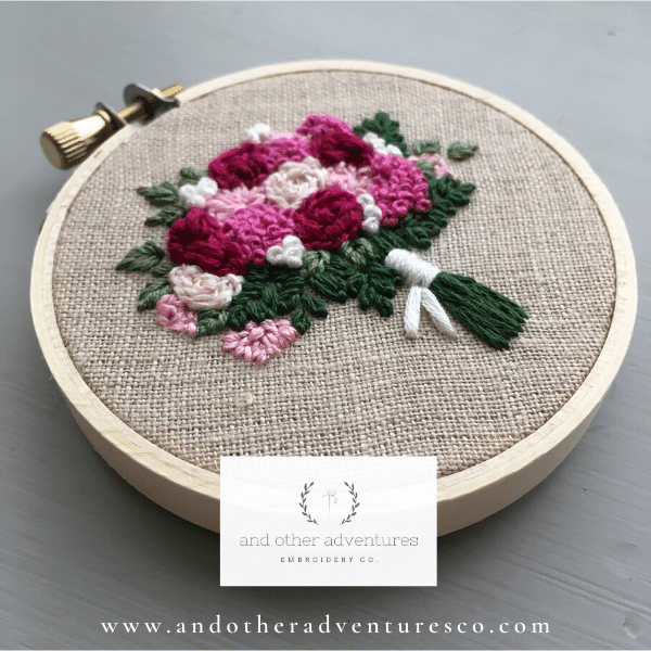 Fuschia and Pink Hand Embroidered Flower Bouquet Hoop Art | And Other Adventures Embroidery Co