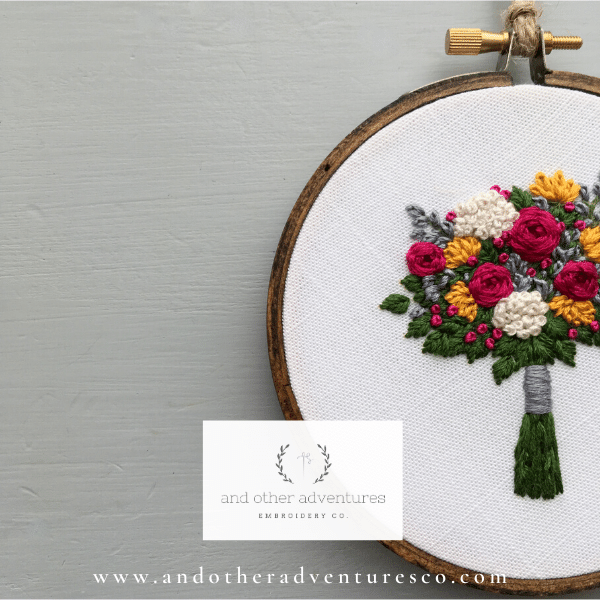 Fuschia and Gold Embroidered Bouquet Hoop Art | And Other Adventures Embroidery Co
