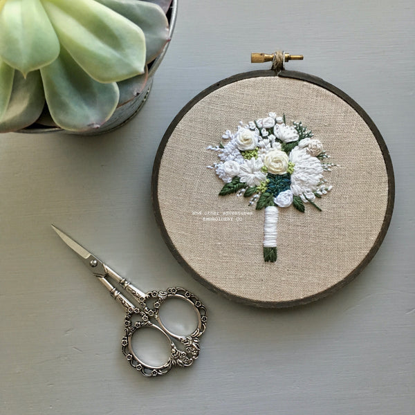 Hand Embroidered White Wedding Bouquet with Succulent created by And Other Adventures Embroidery Co