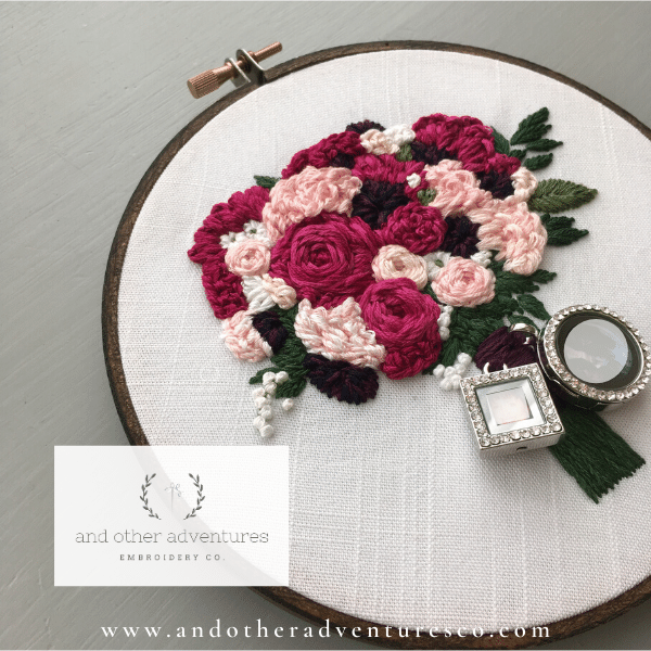 Hand Embroidered Fuschia Bridal Bouquet Keepsake | And Other Adventures Embroidery Co