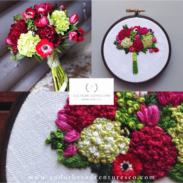 Lime Green, Fuschia, and Crimson Wedding Bouquet Embroidery | And Other Adventures Embroidery Co