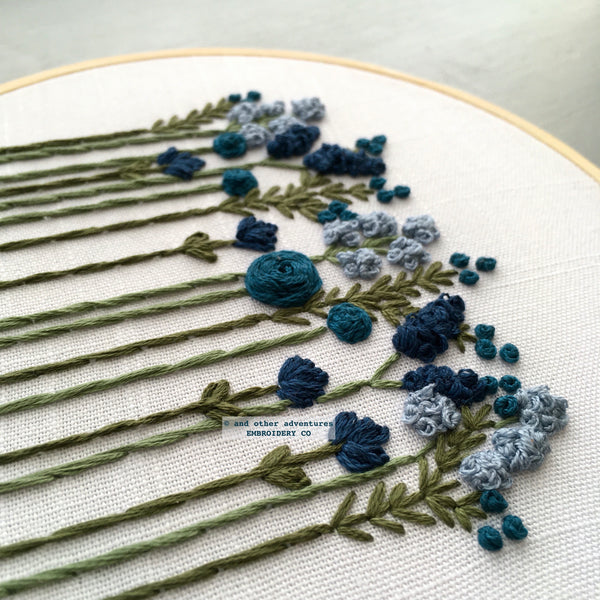 Midnight Blue Floral Embroidery Kit for Beginners