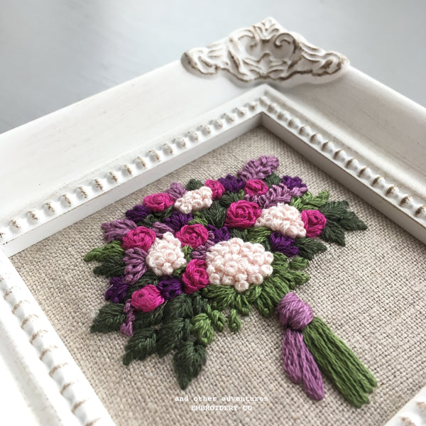 Fuschia and Purple Framed Bouquet Embroidery | And Other Adventures Embroidery Co