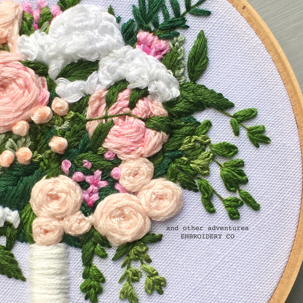 Hand Embroidered Pink Wedding Bouquet Gift by And Other Adventures Embroidery Co
