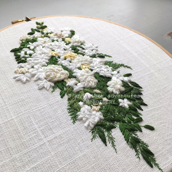 Hand Embroidered white cascading bridal bouquet with trailing greenery - And Other Adventures Embroidery Co