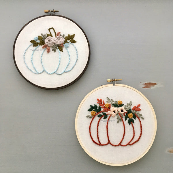 Fall Floral Pumpkin DIY Embroidery Pattern and Kits | And Other Adventures Embroidery Co
