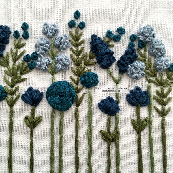 Hand Embroidery Midnight Blue Wildflowers | And Other Adventures Embroidery Co