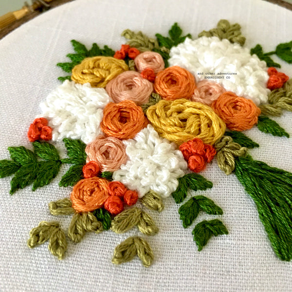 Hand Embroidered Summer Bouquet pattern by And Other Adventures Embroidery Co