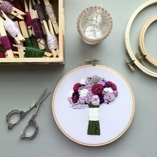 Hand Embroidered Purple Wedding Bouquet Art | And Other Adventures Embroidery Co