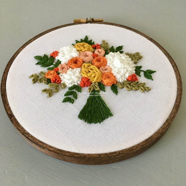 Embroider your own summer bridal bouquet with And Other Adventures Embroidery Patterns - The Bloom Collection