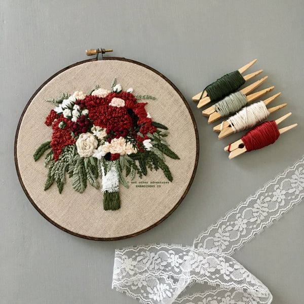 Dramatically Bold and Beautiful Rust Fall Wedding Bouquet by And Other Adventures Embroidery Co