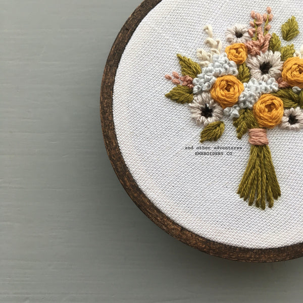 Fall Flowers Original Hand Embroidered Art | And Other Adventures Embroidery Co