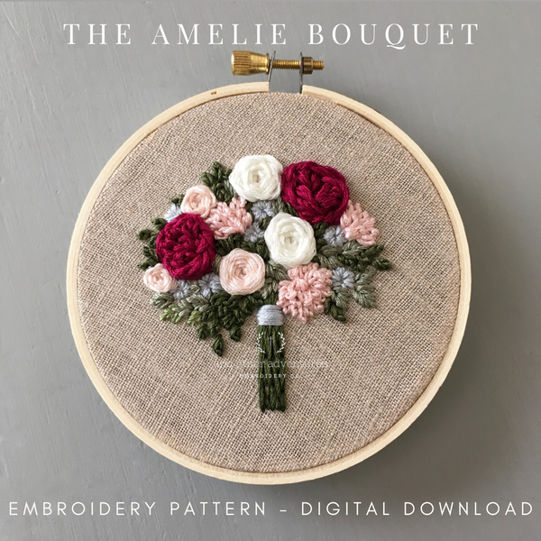 The Amelie Bouquet Hand Embroidery Digital Pattern by And Other Adventures Embroidery Co