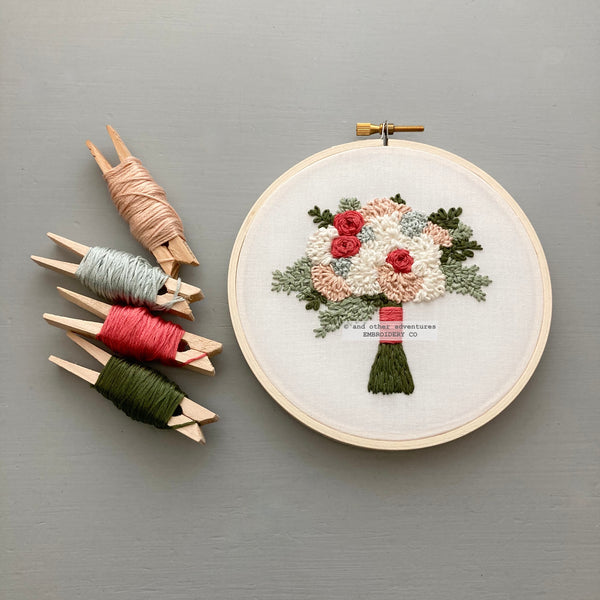 Pink and Ivory Flower Bouquet DIY Embroidery Project | And Other Adventures Embroidery Co