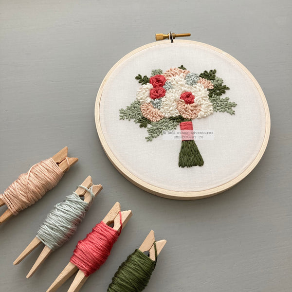 DIY Hand Embroidered Flower Bouquet by And Other Adventures Embroidery Co