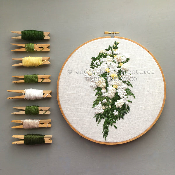 Hand Stitched Wedding Anniversary Gift - White Cascading Bouquet Art - And Other Adventures Embroidery Co