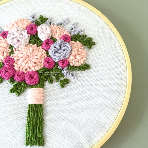 Pink and Lilac DIY hand embroidery pattern by And Other Adventures Embroidery Co