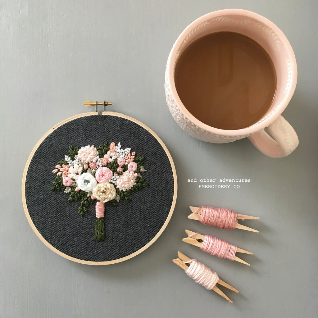 Coffee and Embroidered Hoop Art on Tweed by And Other Adventures Embroidery Co
