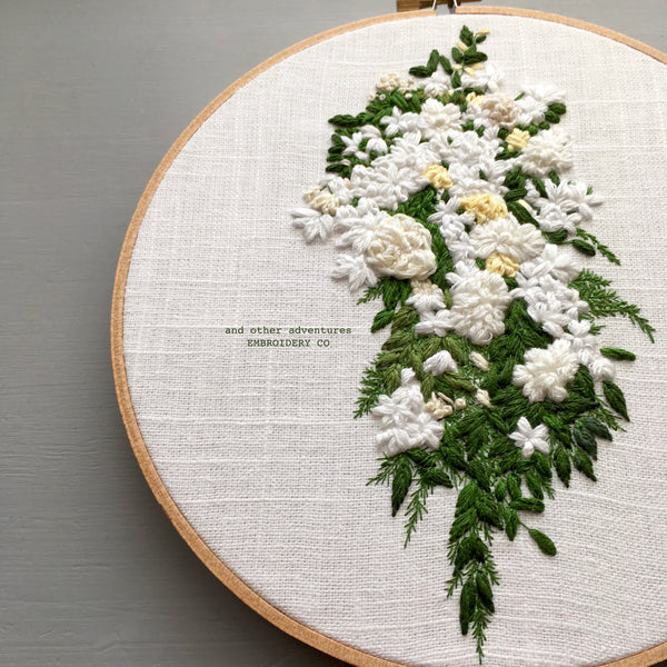 Cascading White Wedding Bouquet hand embroidered by And Other Adventures Embroidery Co