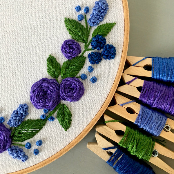 Blue and Purple Embroidered Hoop Art by And Other Adventures Embroidery Co